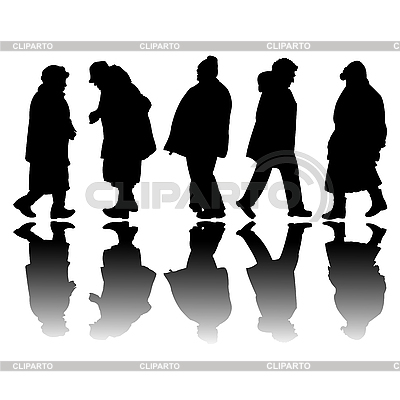 Old people black silhouettes | Stock Vector Graphics |ID 3004566