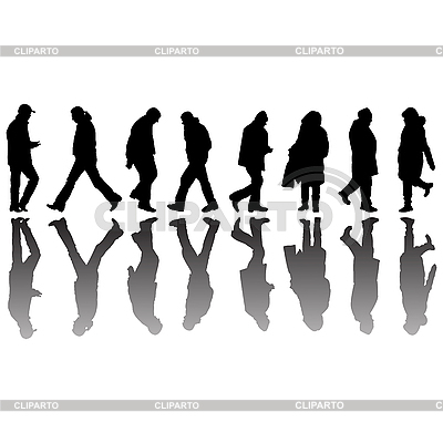 People black silhouettes 2   Stock Vector Graphics  ID 3004681