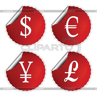 Rote Etiketten mit Währungszeichen | Stock Vektorgrafik |ID 3004905