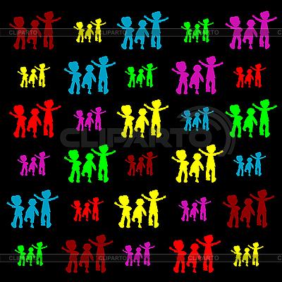 Retro sylwetki dzieci | Klipart wektorowy |ID 3004959