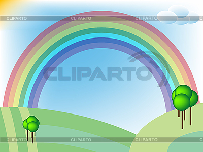 Retro landscape with fields and rainbow   Stock Vector Graphics  ID 3004969