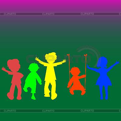 Пять детей, силуэты | Векторный клипарт |ID 3004975