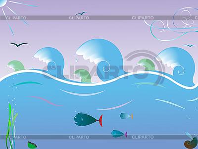 Sea waves landscape | Stock Vector Graphics |ID 3005146