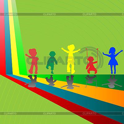 Silhouetten von spielenden Kindern auf grünem Hintergrund | Stock Vektorgrafik |ID 3005252