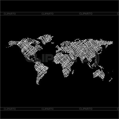 Mapa świata w paski białe | Klipart wektorowy |ID 3005452