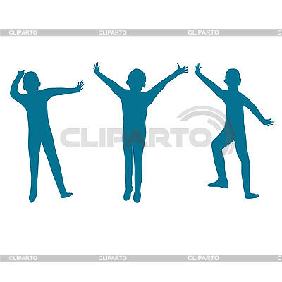 Three kids silhouette | High resolution stock illustration |ID 3005620