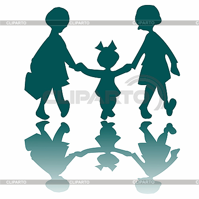 Three little girls going to walk | Stock Vector Graphics |ID 3005624