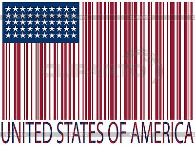 Stany Zjednoczone flag kodów kreskowych | Klipart wektorowy |ID 3005706