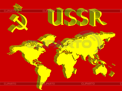 Ussr symbol and world map   Stock Vector Graphics  ID 3005724