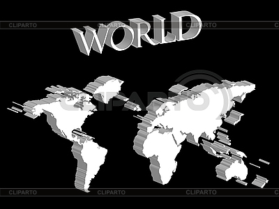 White world map expanded on black background | Stock Vector Graphics |ID 3005874