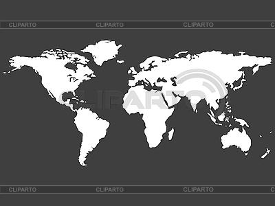 灰色的白色世界地图 | 向量插图 |ID 3005878