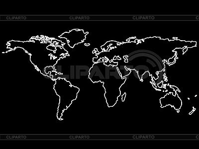 흰색 세계지도에 고립 된 블랙 외곽선 | 벡터 클립 아트 |ID 3005884