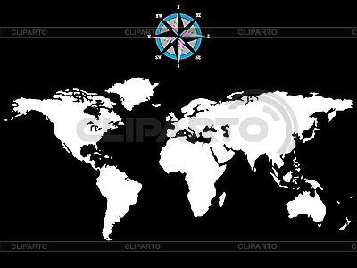 White world map with wind rose | Stock Vector Graphics |ID 3005888