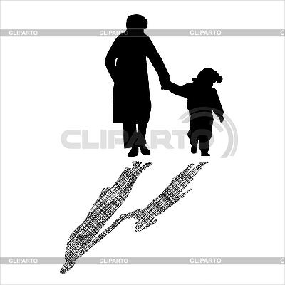 Kobieta i dziecko paski cień sylwetki z | Klipart wektorowy |ID 3005912