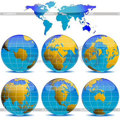 World globes collection | Stock Vector Graphics |ID 3005946