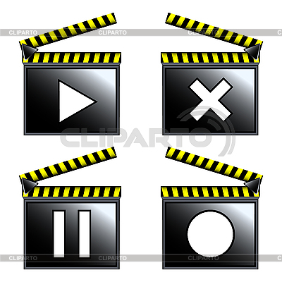 Movie cinema clapboard icons | Stock Vector Graphics |ID 3006274