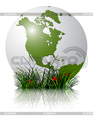 Earth globe and grass reflected | Stock Vector Graphics |ID 3029185