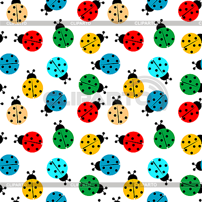 Ladybugs in colors seamless pattern | Stock Vector Graphics |ID 3029215