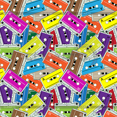 Seamless audio tapes pattern | Stock Vector Graphics |ID 3029255