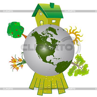 Erdkugel mit Bäumen und Häusern | Stock Vektorgrafik |ID 3038301