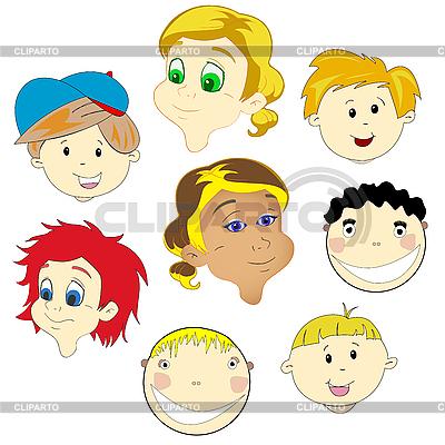 Twarze dzieci | Klipart wektorowy |ID 3082527