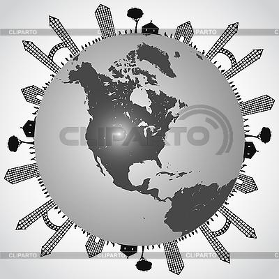 Globus ziemi z budynkami | Klipart wektorowy |ID 3121818