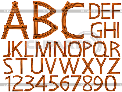 Wooden alphabet and numbers   Stock Vector Graphics  ID 3121832