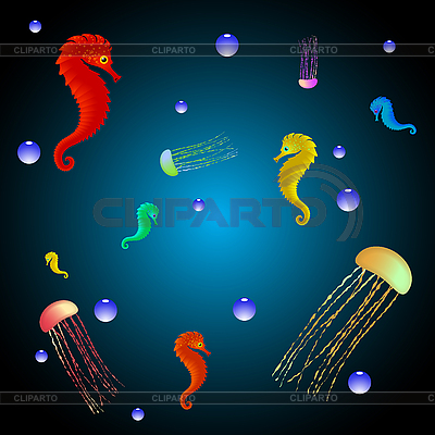 Quallen und Seepferdchen | Stock Vektorgrafik |ID 3132921