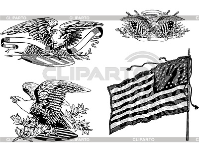U.S. eagles and old U.S. historical flag | Stock Vector Graphics |ID 5723790
