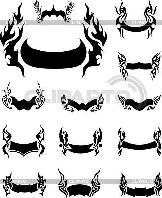 Set of Fiery Motto Ribbons | Klipart wektorowy |ID 5725051