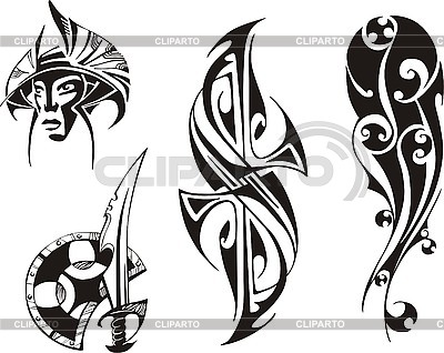 Four tribal tattoo designs | Stock Vector Graphics |ID 3000625