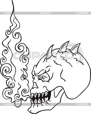 Skull monster flame | Klipart wektorowy |ID 3000922
