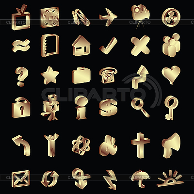 3D gold icons set | Stock Vector Graphics |ID 3001927