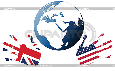 Earth Globe with stilized flags of USA and UK  | High resolution stock illustration |ID 3002046