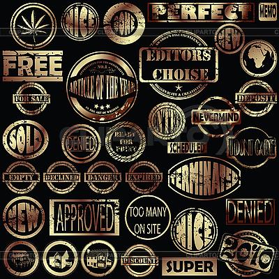Złote znaczki grunge | Klipart wektorowy |ID 3002092