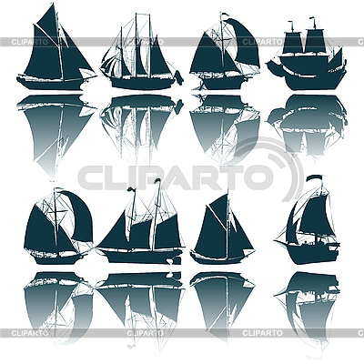 Sailing ship silhouettes | Stock Vector Graphics |ID 3002208