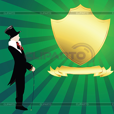 Golden shield and gentleman | High resolution stock illustration |ID 3002444