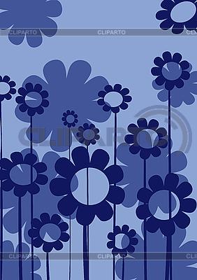 Blaue Art-Deco-Blumen, Karte | Stock Vektorgrafik |ID 3006016