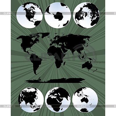 World map and globes | Stock Vector Graphics |ID 3006048