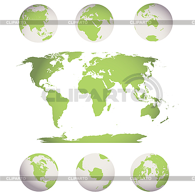World map and globes | Stock Vector Graphics |ID 3006088