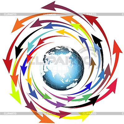 Globe i strzały | Klipart wektorowy |ID 3006116