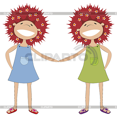 Sisters holding hands | Stock Vector Graphics |ID 3006202