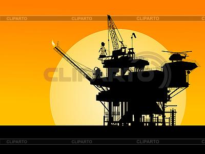 석유 플랫폼의 실루엣 | 벡터 클립 아트 |ID 3006244