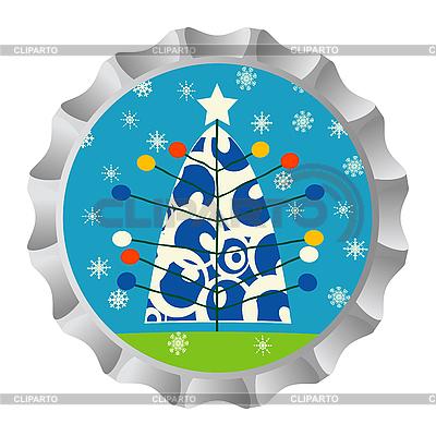 Retro Flaschendeckel mit Weihnachtsbaum und Schneeflocken | Stock Vektorgrafik |ID 3016615