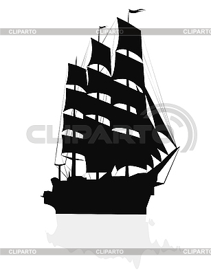 帆船剪影 | 向量插图 |ID 3018280