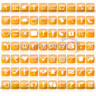 橙色色调的网页按钮 | 向量插图 |ID 3018375