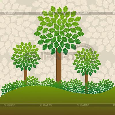 나무 배경 | 벡터 클립 아트 |ID 3018383