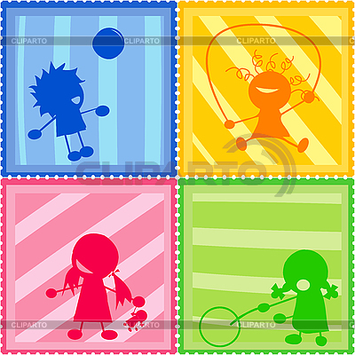 Sylwetki dzieci | Klipart wektorowy |ID 3018498
