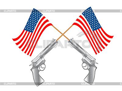 美国国旗和枪 | 向量插图 |ID 3018524