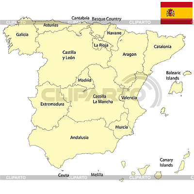 Landkarte von Spanien | Stock Vektorgrafik |ID 3025217